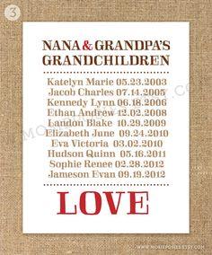 Personalized Grandparent Print - Grandchildren's Names & Birthdays - Great Christmas Gift. $18.00, via Etsy.