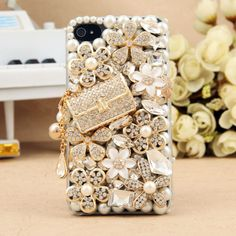 IPhone 4S 4G Bling Crystals Bag White Flower