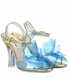 Leather-trimmed plastic sandals | Miu Miu