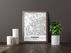 Excited to share the latest addition to my #etsy shop: Harrow map print, Minimalistic wall art poster, England gifts, Birthday Gift, For father, Father
