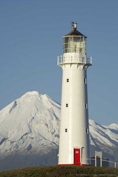 Cape Egmont Lighthouse  & Mount Taranaki, North Island, New Zealand