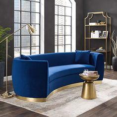 Living Room Sofa, Living Room Furniture, Modern Furniture, Living Room Decor, Furniture Stores, Blue Velvet Sofa Living Room, Blue And Gold Living Room, Navy Furniture, Bespoke Furniture