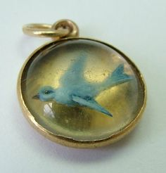 Sandys Vintage Charms, A Victorian c1890 18ct 18k gold Essex Crystal bluebird intaglio charm, £225.00