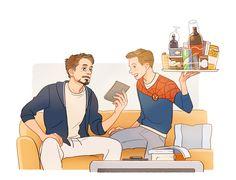 Tony Stark aka Iron Man & Peter Parker aka Spider-Man | art by Hallpen | Artwork