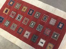 3 x 5 Orange Beige Modern Gabbeh Persian Oriental Area Rug Wool Hand Knotted