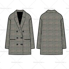 Sketching Fashion Flat Vector Template Sketch Unisex of a double breasted elongated blazer. All sketches are CADed up and the outside strokes are connected for an easy color swatch or pattern drop in. Illustration Mode, Fashion Illustration Sketches, Fashion Sketchbook, Fashion Sketches, Drawing Fashion, Fashion Design Template, Pattern Fashion, Fashion Flats, Fashion Dresses
