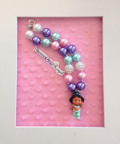 Princess Jasmine inspired bubblegum bead necklace with pink, aqua and purple beads and a Princess Jasmine Pendant $20 + p&h.
