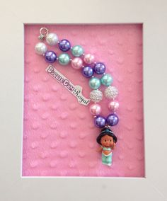 Princess Jasmine inspired bubblegum bead necklace with pink, aqua and purple beads and a Princess Jasmine Pendant $20 + p&h.