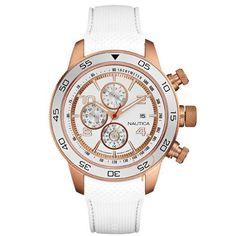 Ρολόι Nautica NCT 402 Chronograph White Leather Strap - A24532G - http://rologia.org/%cf%81%ce%bf%ce%bb%cf%8c%ce%b9-nautica-nct-402-chronograph-white-leather-strap-a24532g/