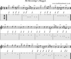 Music Score and Guitar Tabs for Mr Beveridges Maggot