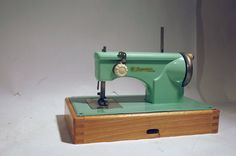 vintage metal toy sewing machine Signature Junior aqua mint green mid century by Casige on Etsy, $165.29 AUD