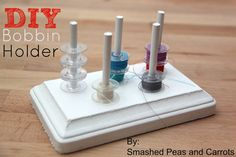Let's talk bobbin storage!! Keep your bobbins from taking over your sewing space. Here are 10 tricks to keep them under control and not all tangled up.