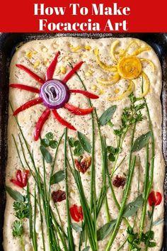 Sourdough Focaccia Art - a fun, creative recipe that is also delicious. Create a beautiful piece of edible art using fresh vegetables and herbs Foccacia Recipe, Focaccia Bread Recipe, Bread Recipes, Icing Recipes, Ham Recipes, Spinach Recipes, Avocado Recipes, Noodle Recipes, Rice Recipes