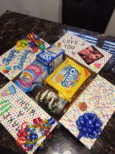"""""""Happy Birthday"""" care package that I made for my deployed husband. Everything in the box is birthday/cupcake/confetti themed - super fun! He LOVED it!"""