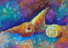 Pear painting original acrylic painting still by SunnyMooseStudio