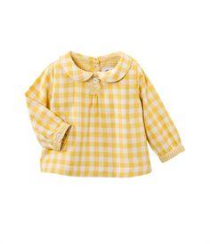Blouse bébé fille en tubique vichy col rond jaune Nectar / beige Coquille