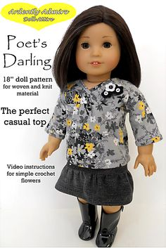 American Girl Doll clothes pattern Poet's Shirt   Liberty Jane Doll Clothes Patterns For American Girl Dolls