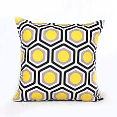"Topotdor Square Polyester Decorative Throw Pillow Case Cover Geometric Design  Pillowcase Cushion Cover for Sofa Chair 18"" X 18"" (Yellow )"