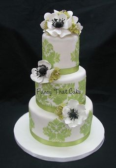 Green Damask Wedding Cake my god I freaking love it  even has the white anemones !!!!
