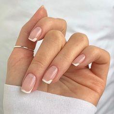 Soft Pink Nails, White Gel Nails, Gold Nails, Neutral Nails, Blue French Manicure, Botanic Nails, Wedding Manicure, Floral Nail Art, Gelish Nails