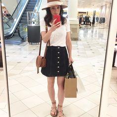 White tee and dark denim skirt