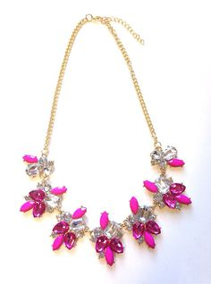 Crystal Bib Statement Necklace Pink & Blue by SeasideJemsFL