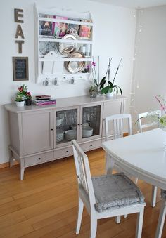 sideboard: cabinets, glass, not open (for grease to collect). Don't like the color, but I like the open at floor...