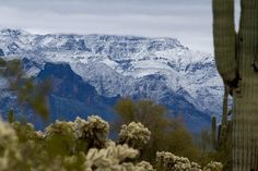 SNOW STORM HITS ARIZONA  A view of Superstition Mountain - on 02-20-2013
