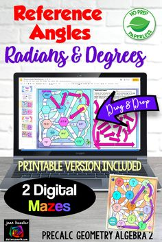 Your students will love these two fun digital and printable mazes to practice finding reference angles. One maze has degees only and the other is designed for radians. They are self checking, rigirous and