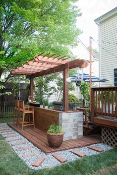 Find other ideas: DIY Outdoor Kitchen And Pool Layout Outdoor Kitchen and Pergola Ideas Rustic Outdoor Kitchen On A Budget Small Outdoor Kitchen Patio On Deck Outdoor Kitchen Covered Design Build Outdoor Kitchen, Outdoor Kitchen Countertops, Outdoor Kitchen Design, Simple Outdoor Kitchen, Small Outdoor Kitchens, Backyard Patio Designs, Backyard Pergola, Backyard Landscaping, Pergola Kits