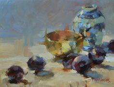 Christensen, Ingrid - Brass Bowl and Plums #design, #composition, #still life, #painting, #artwork