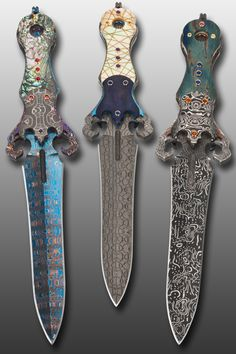 "Metal, John Lewis Jensen, Artist, Desk Daggers, fixed-blade dagger trio, damascus steel, anodized titanium, abalone, gold-lip pearl, fossil mastodon ivory, 18k gold leaf, 18k gold, gemstones, overall Length: 8 1/4"", Jessica Marcotte, Photography"