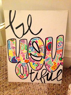 BeYOUtiful Neon Quote Canvas by LNBCanvases on Etsy, $10.00