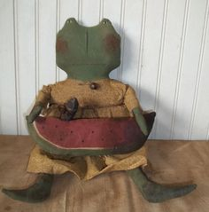 Primitive Grungy Mrs. Frog Doll with Her Watermelon & Crow #NaivePrimitive