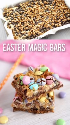 Easter Magic Cookie Bars Recipe- delicious easter dessert idea to bring to a par. Easter Magic Cookie Bars Recipe- delicious easter dessert idea to bring to a party! Gift ideas to bag up too. M&m pastel chocolate chip coconut etc. Easter Deserts, Easter Snacks, Easter Brunch, Easter Treats, Easter Recipes, Dessert Recipes, Easter Food, Cakes For Easter, Mini Egg Recipes