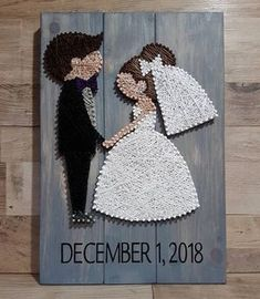 Another one Bride and groom with custom request for bride with brown hair, caramel highlights. Done on grey wash wood.Another one Bride and groom with custom request for bride with brown hair, caramel highlights. Done on grey wash wood. String Art Diy, Wedding String Art, String Crafts, Wedding Art, Hair Wedding, Wedding Nails, Arte Linear, Diy And Crafts, Arts And Crafts