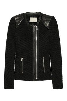 IRONatasha leather-trimmed chunky knit wool biker jacket
