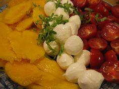 Mango, Cherry Tomato, Mozzarella Salad with Blood Orange Viniagrette