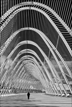 OAKA Stadium, Athens, Greece - 2004 Olympic Games - Santiago Calatrava ~ by eugkyr - Santiago Calatrava, Mykonos, Beautiful Architecture, Architecture Design, Greece Architecture, Stadium Architecture, Athens Greece, The Places Youll Go, Arches