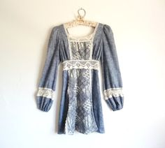 Vintage 60s Chambray GUNNE SAX Crochet Mini by DollyrockerVintage,