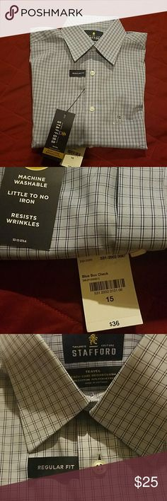 Mens shirt Stafford travel regular fit Men's button-up shirt Stafford Style regular fit easy-care board cloth 60% cotton and 40% polyester. Short sleeve regular fit machine washable little to no iron resist wrinkle easy-care with machine wash wash and wear garments total $36 value size 15 to help out which is a small. jcpenney Shirts Casual Button Down Shirts