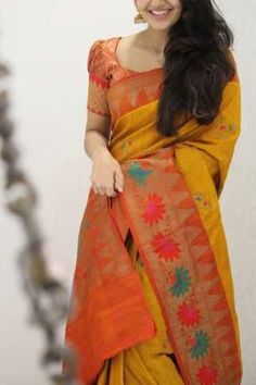 Soft silk sarees - buy the latest collection of soft silk sarees. check new and trendy wears for women. Mysore soft silk sarees and Kanjivaram soft silk sarees. Satin Saree, Soft Silk Sarees, Cotton Saree, Sari Silk, Cotton Silk, Silk Satin, Saree Blouse Neck Designs, Bridal Blouse Designs, Blouse Patterns