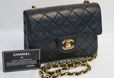 Authentic Vintage Chanel Mini Flap Black Lamb GHW Gold Hardware