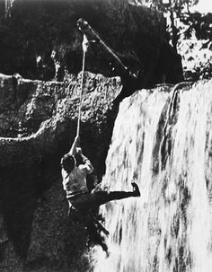 "The waterfall rescue scene in ""Our Hospitality"""