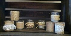 Check out this item in my Etsy shop https://www.etsy.com/listing/225096981/12-rustic-glass-candles-with-lace-burlap