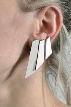 Mono Polygon leather earrings. Aumorfia. Designed by:Theano Ravazoula-Potamianou.  #GreekDesigners