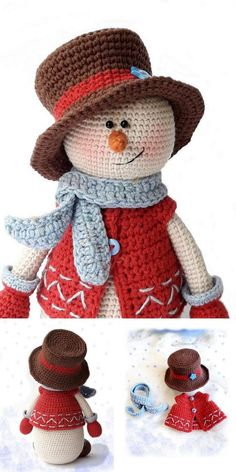 Super adorable crochet pattern for this sweet amigurumi snowman. He would make a great decoration or toy for children of all ages. Crochet Amigurumi Free Patterns, Crochet Dolls, Free Crochet, Free Christmas Crochet Patterns, Crochet Teddy, Crochet Summer, Crochet Crafts, Crochet Projects, Yarn Crafts