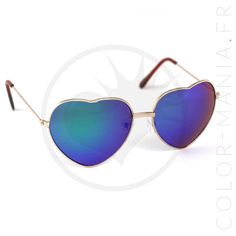 Lunettes de Soleil Coeurs Doré Verres Bleu Miroir