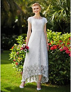 A-Line Jewel Neck Asymmetrical Tulle Over Lace Made-To-Measure Wedding  Dresses · Vestido De ... 77df64b77ffb