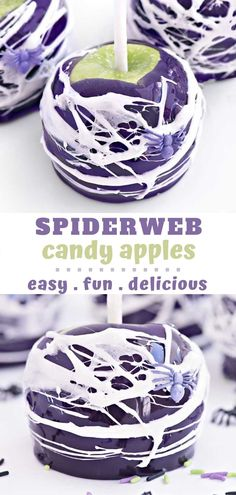 Spiderweb Candy Apples are the best dessert for Halloween get togethers and parties. So tasty and easy to make too! Happy Halloween, Halloween Candy Apples, Halloween Desserts, Halloween Cakes, Fall Desserts, Delicious Desserts, Apple Dessert Recipes, Apple Crisp Recipes, Cinnamon Toast Crunch